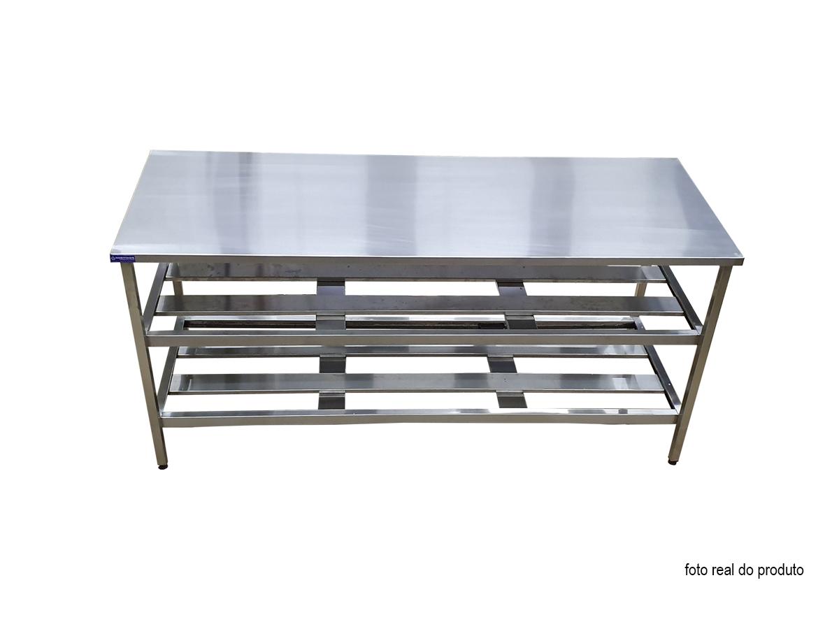 Mesa Aço Inox Industrial 150x60x90 cm Prateleiro Duplo Nortinox
