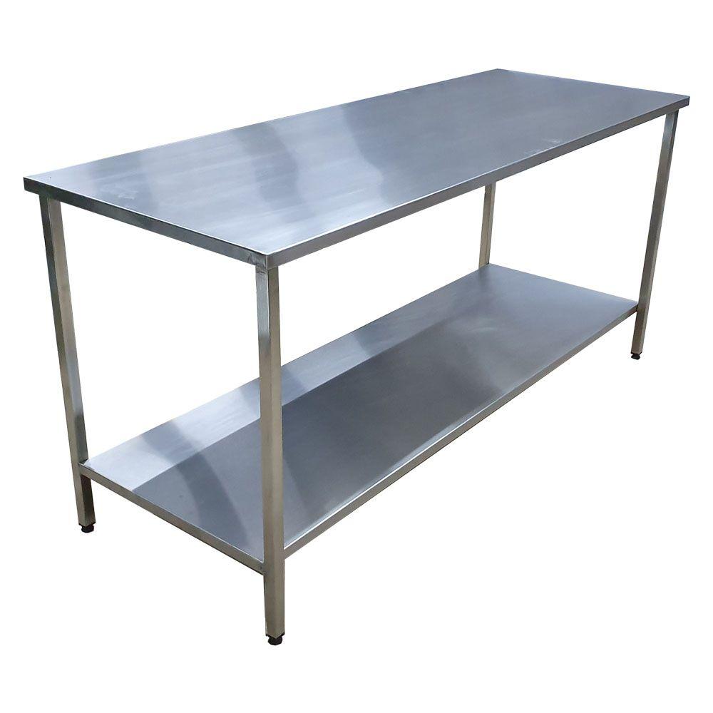Mesa Aço Inox Industrial 150x70x90 cm Plano Liso Nortinox