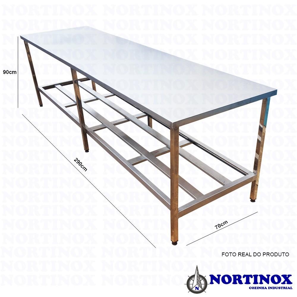 Mesa Aço Inox Industrial 290x70x90 cm Prateleiro Duplo Nortinox