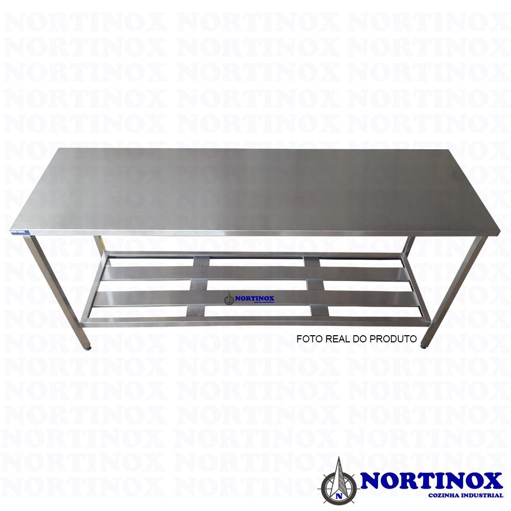 Mesa Aço Inox Profissional 100x70x90 cm Nortinox