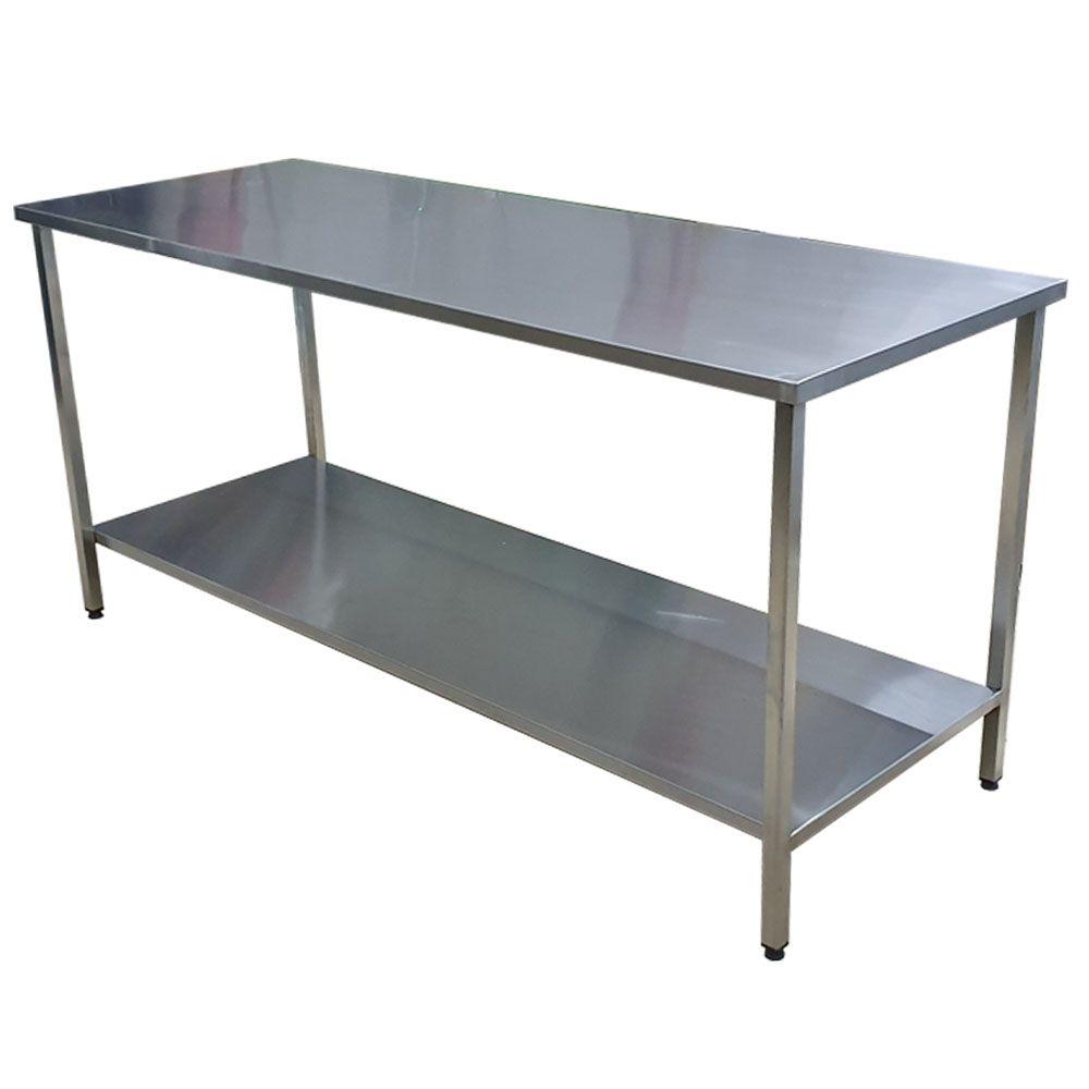Mesa de Aço Inox Industrial 100x70x90 cm Plano Liso Nortinox