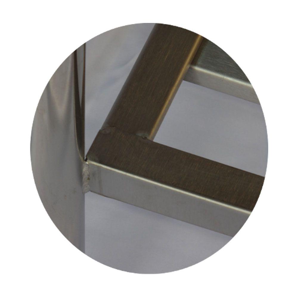 Mesa de Aço Inox Industrial 1,60x 0,70x 0,90 Nortinox