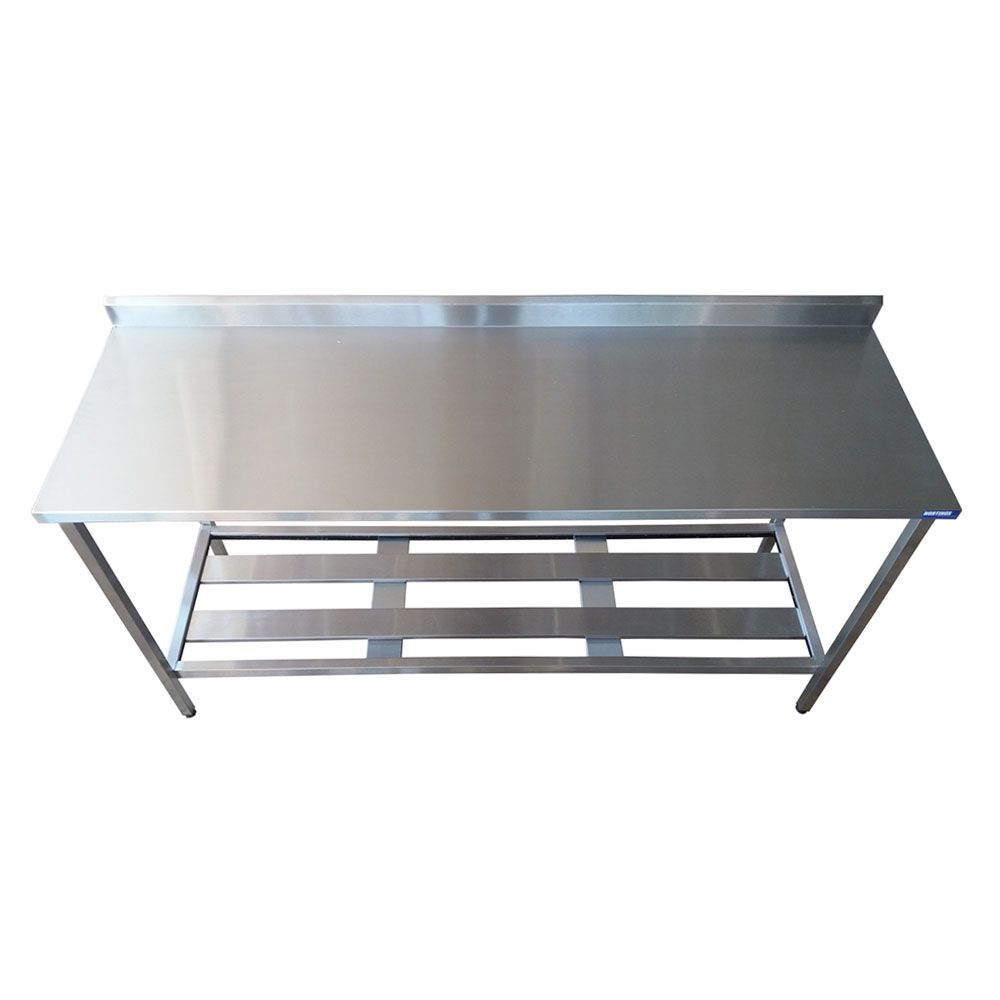 Mesa Aço Inox Industrial 1,80x70x90 m com Espelho Nortinox