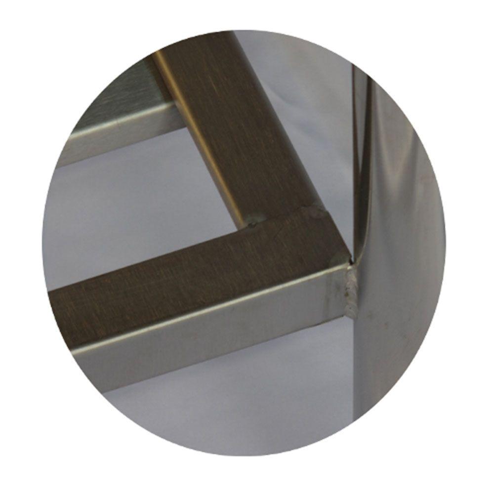 Mesa de Aço Inox Industrial 1,80x70x90 m com Espelho Nortinox