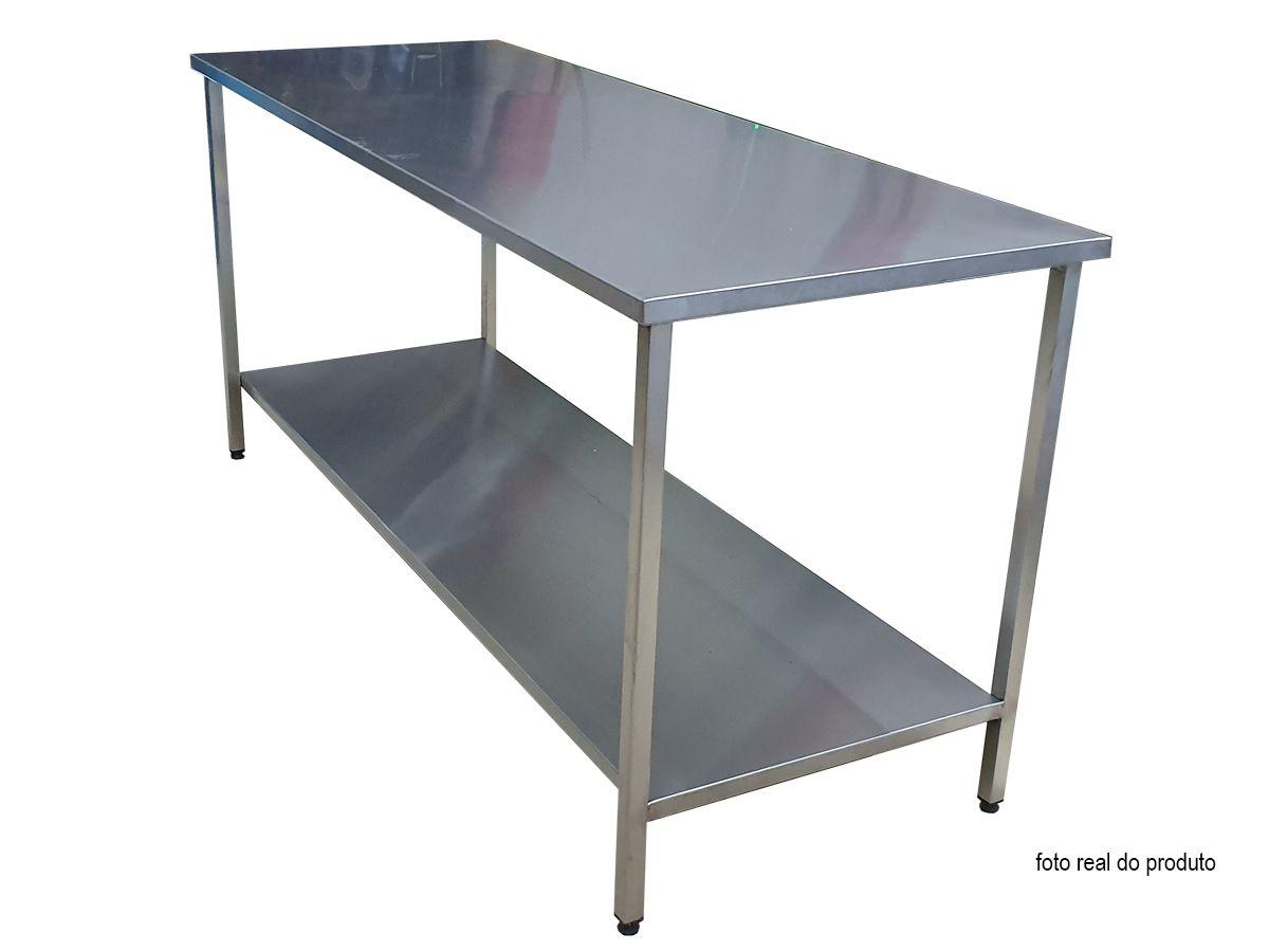 Mesa Aço Inox Industrial 290x70x90 cm Plano Liso Nortinox