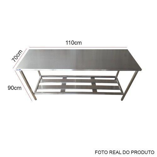 Mesa Aço Inox Profissional 110X70X90 cm Nortinox