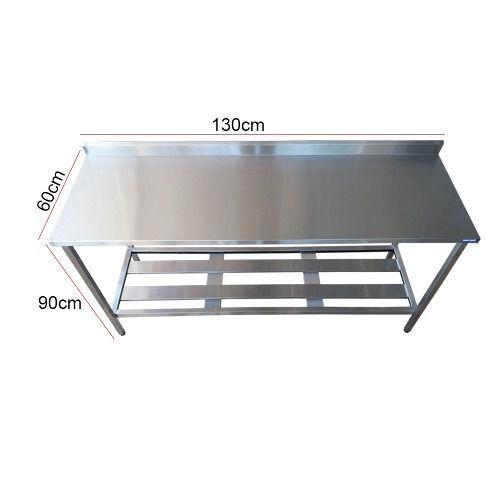 Mesa Aço Inox Profissional 130x60x90 cm com Espelho Nortinox