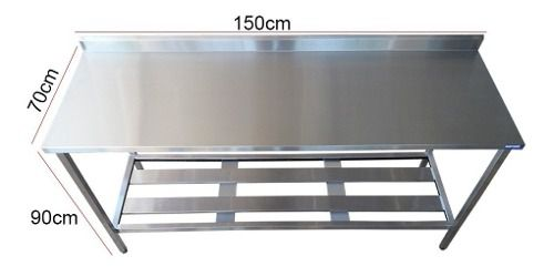 Mesa Aço Inox Profissional 150x60x90 cm com Espelho Nortinox