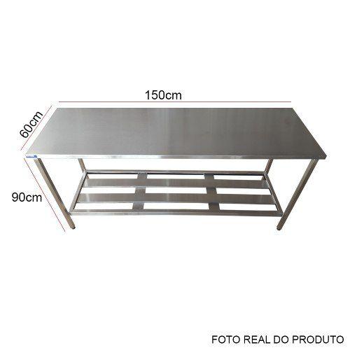 Mesa Aço Inox Profissional 150x60x90 cm Nortinox