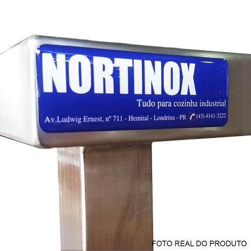 Mesa Aço Inox Profissional 160x60x90 cm com Espelho Nortinox