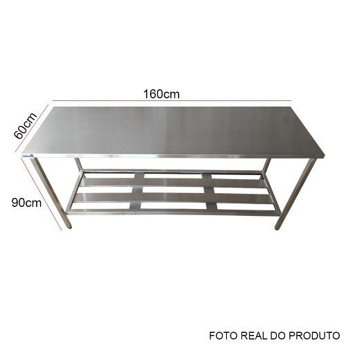 Mesa Aço Inox Profissional 160x60x90 cm Nortinox
