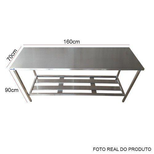 Mesa Aço Inox Profissional 160x70x90 cm Nortinox