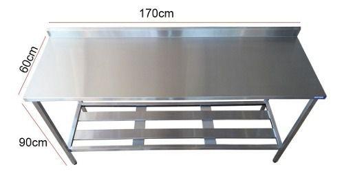 Mesa Aço Inox Profissional 170x60x90 cm com Espelho Nortinox