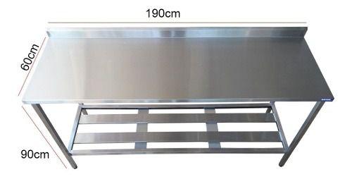 Mesa Aço Inox Profissional 180x60x90 cm com Espelho Nortinox