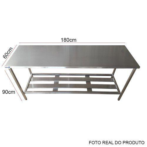 Mesa Aço Inox Profissional 180x60x90 cm Nortinox