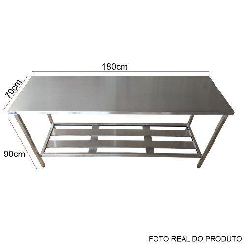 Mesa Aço Inox Profissional 180x70x90 cm Nortinox