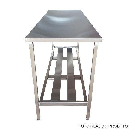 Mesa Aço Inox Profissional 190x60x90 cm Nortinox