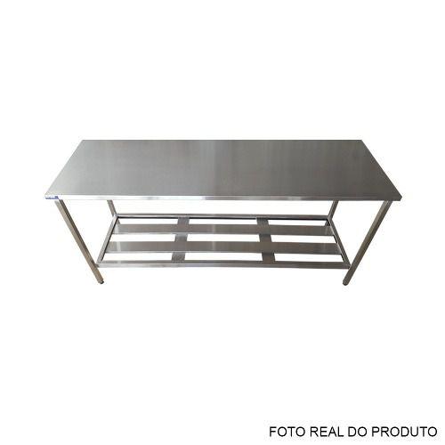 Mesa Aço Inox Profissional 190x70x90 cm Nortinox
