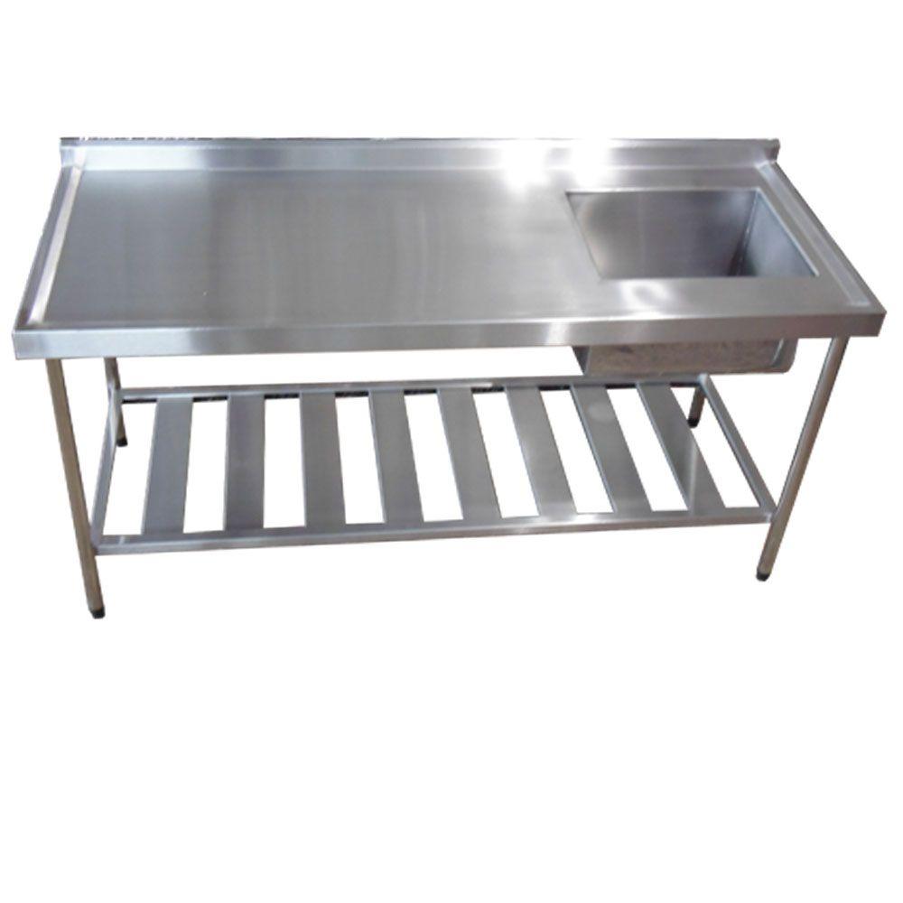 Pia Aço Inox Industrial 150x60x90 cm Cuba Direita Nortinox
