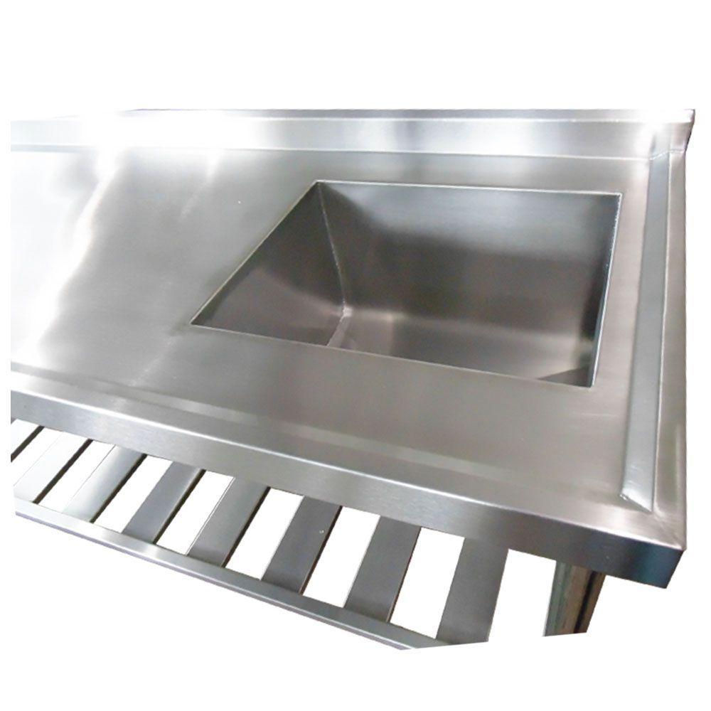 Pia Aço Inox Industrial 160x60x90 cm Cuba Direita Nortinox