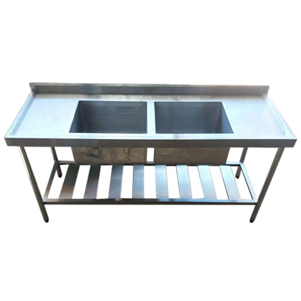 Pia Aço Inox Industrial 170x60x90 cm Cuba Dupla Nortinox