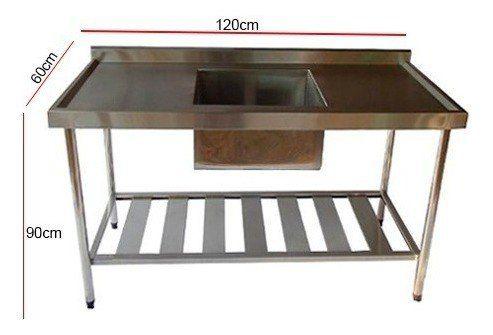 Pia de Aço Inox Industrial Nortinox 120x60x90 cm