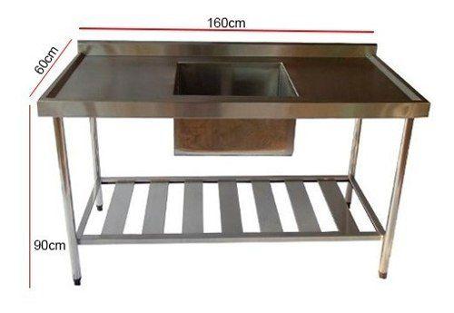 Pia de Aço Inox Industrial Nortinox 160x60x90 cm