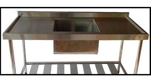 Pia de Aço Inox Industrial Nortinox 180x60x90 cm