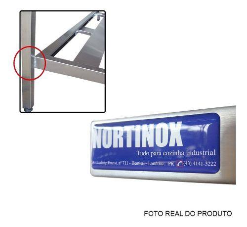 Prateleira Aço Inox Reforçada 115x32x160 cm 4 Planos Nortinox