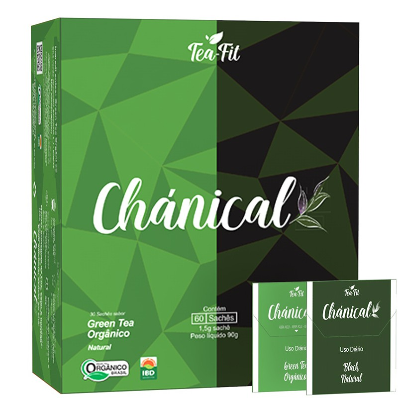 CHÁNICAL - 60 SACHÊS ( GREEN TEA ORGÂNICO / BLACK NATURAL )