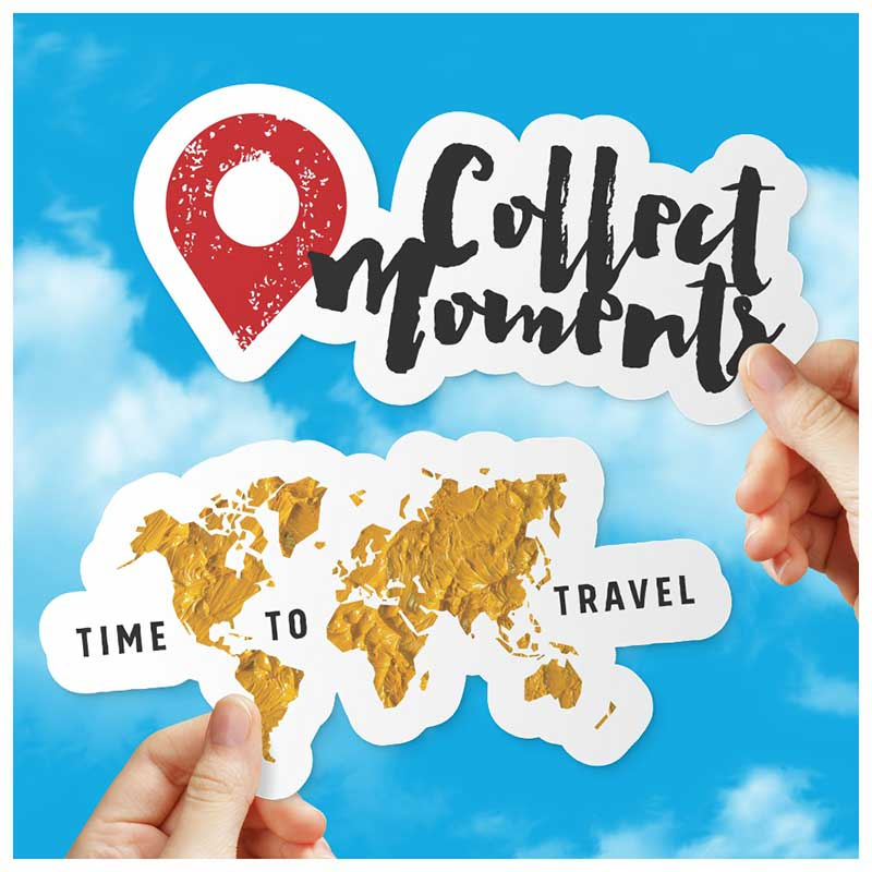 Adesivos do Viajante - Collect Moments + Time to Travel (Kit c/2)