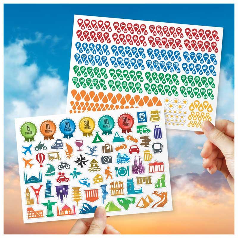 Adesivos Temáticos de Viagem p/ Mapas - Pins Ícones + Ícones Decorativos (Kit c/2 Cartelas)