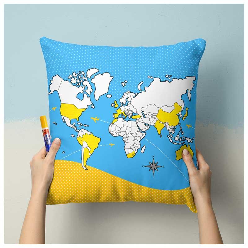 Capa de Almofada p/ Colorir - Mapa-Múndi (43x43cm) + Caneta Especial p/ Tecido