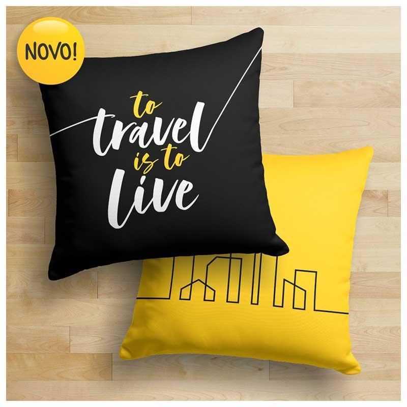 Capa de Almofada - Travel Mix - To Travel is to Live (43x43cm)