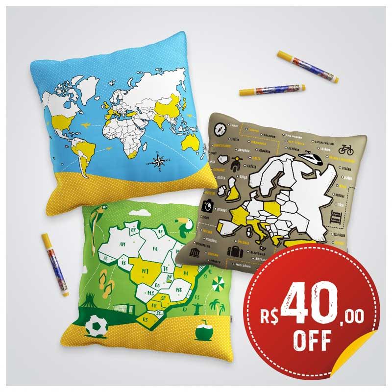 Almofadas do Viajante - Mapas p/ Colorir - Combo 3 Capas c/ R$40 OFF