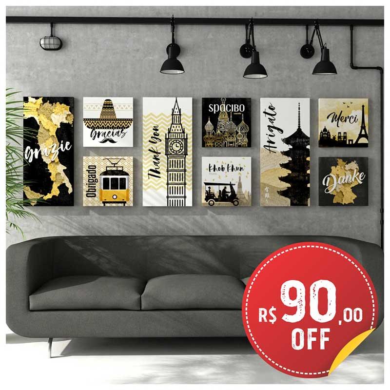 Coleção Quadros Canvas Gratidão c/ até R$90 OFF