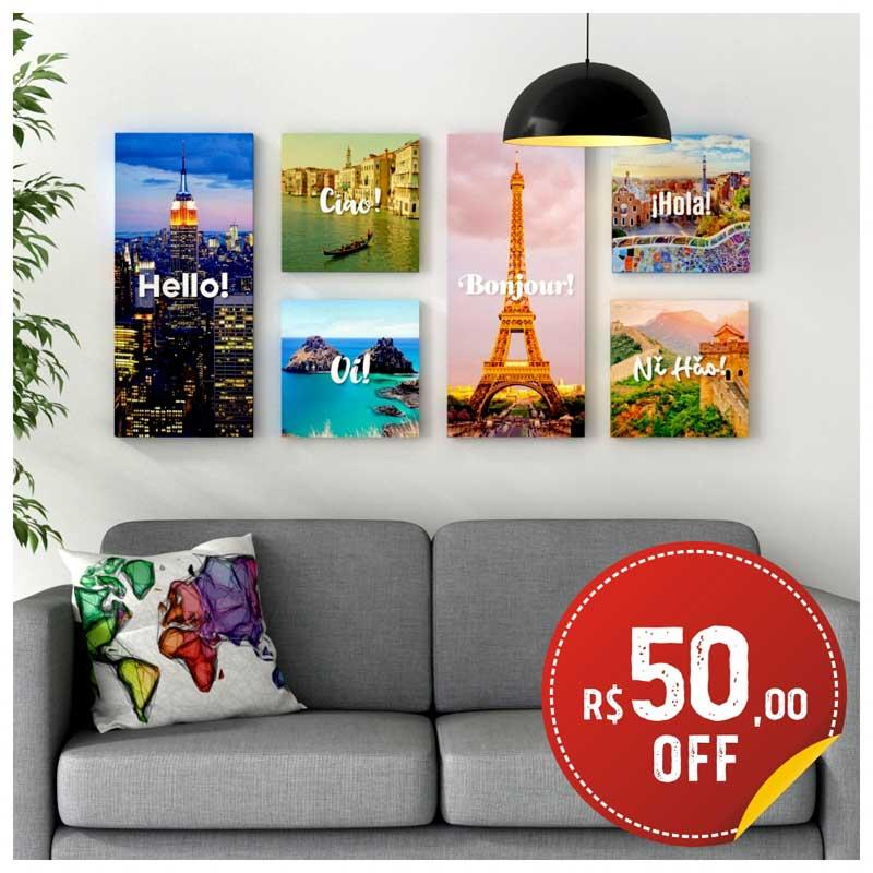 Coleção - Quadros Canvas - Linha Cumprimentos pelo Mundo - Conjunto Completo c/ R$50 OFF