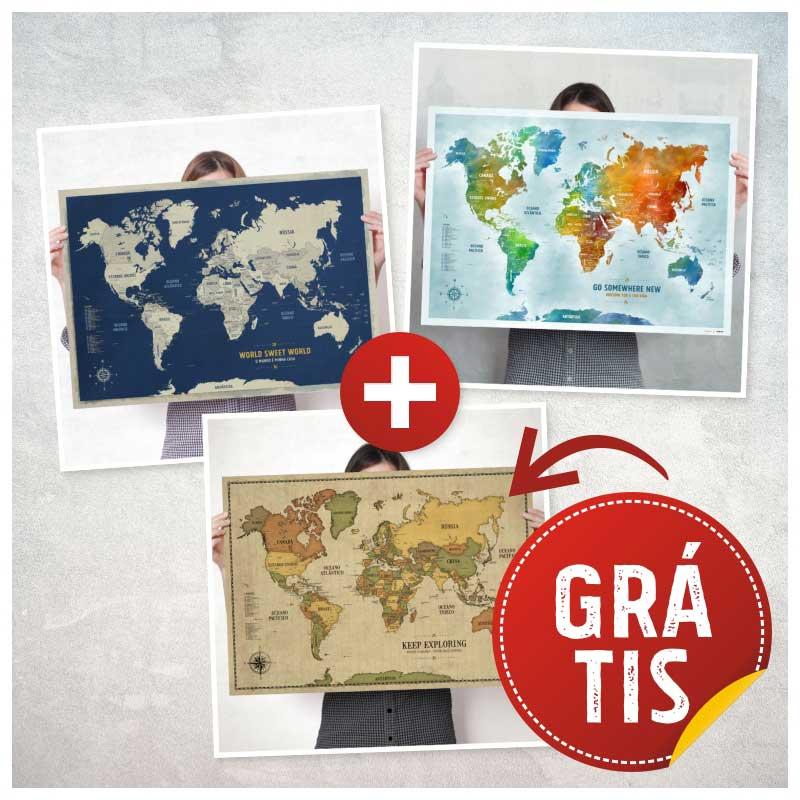 Combo - 3 Posters de Mapas - Promo Leve 3 Pague 2