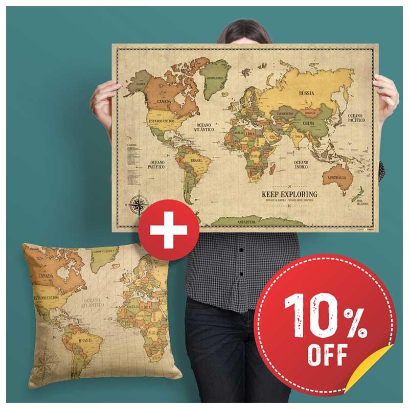 Combo - Pôster Mapa + Capa de Almofada Vintage c/ 10% OFF