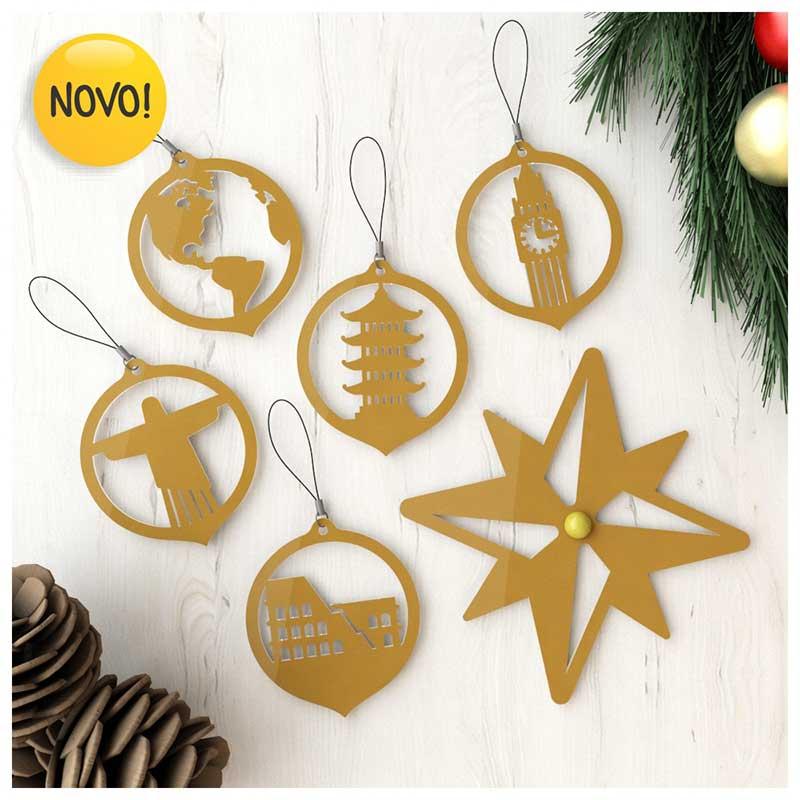 #Enfeites de Natal - Lugares do Mundo Dourado (5un) + Estrela Rosa dos Ventos