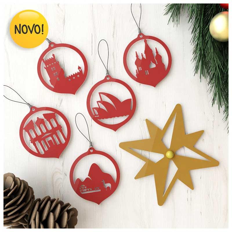 #Enfeites de Natal - Lugares do Mundo Vermelho (5un) + Estrela Rosa dos Ventos