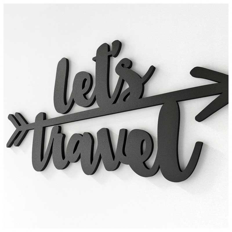 Frase Decorativa de Parede - Let's Travel (40x19cm)