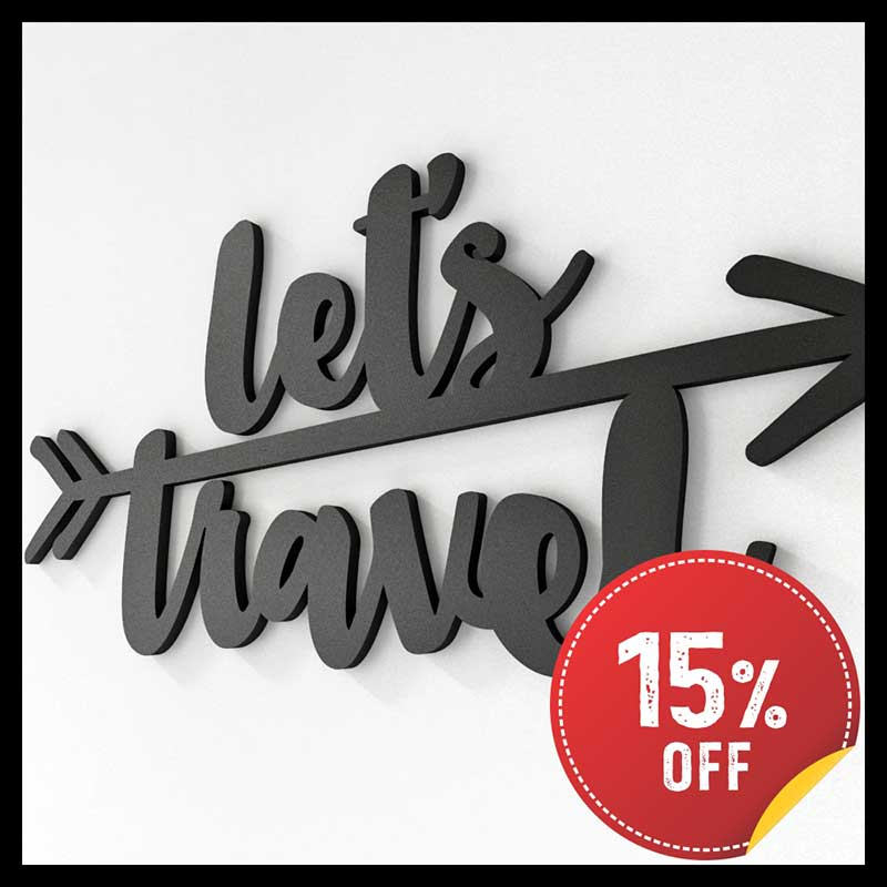 Frase Decorativa de Parede - Let's Travel (40x19cm)