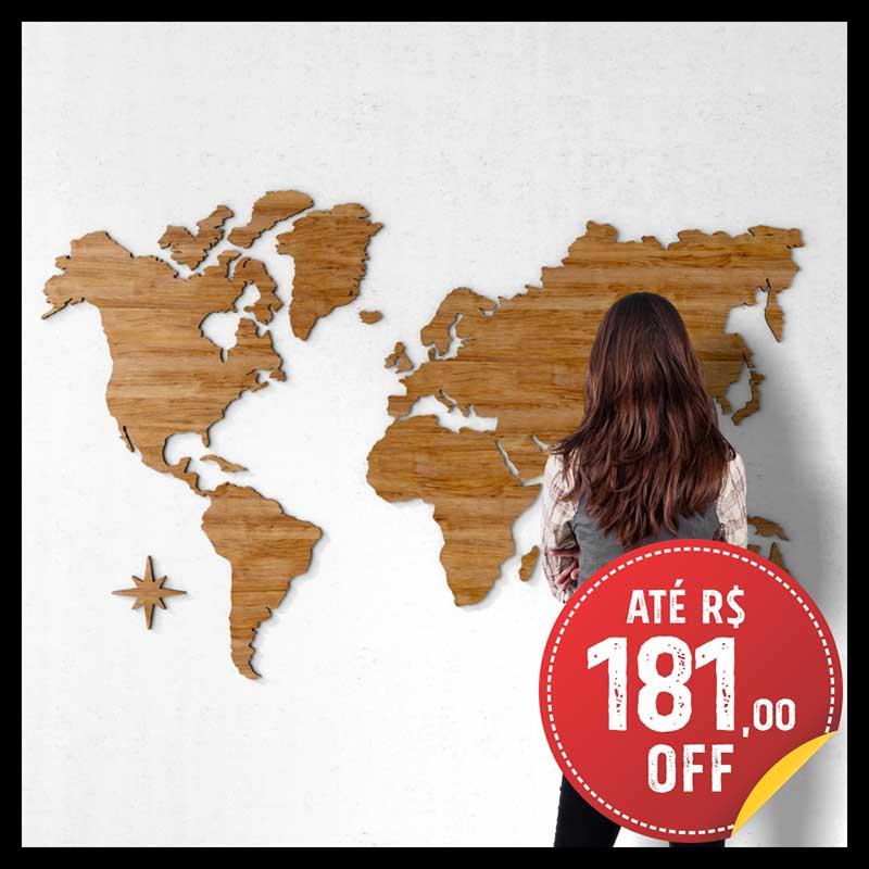 Mapa-Múndi MDF - Madeira Castanho + 150 Pins Adesivos (Tamanhos 120x75cm / 170x106cm / 200x118cm)