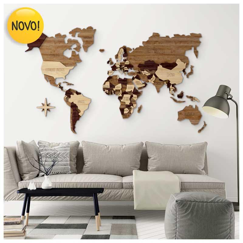 Mapa-Múndi MDF Multi-Madeiras Alto Relevo c/ Nome dos Países (170x102cm)