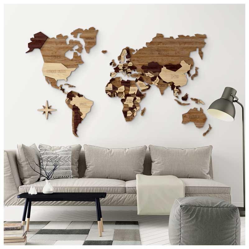 Mapa-Múndi MDF Multi-Madeiras Alto Relevo c/ Nome Países (170x102cm)