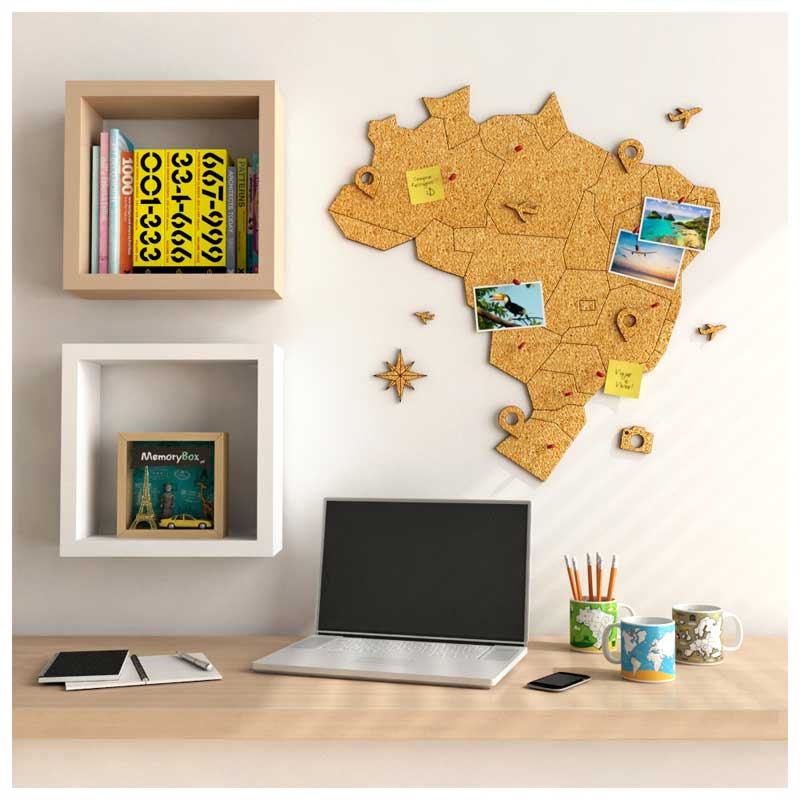 Mural de Cortiça Adesivo Mapa do Brasil + 10 Pins Especiais My Places (57x58cm)