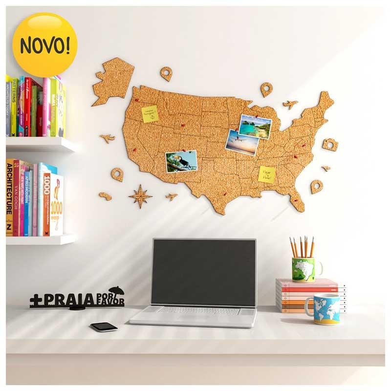 Mural de Cortiça Adesivo Mapa dos Estados Unidos + 10 Pins Especiais My Places (80x50cm)
