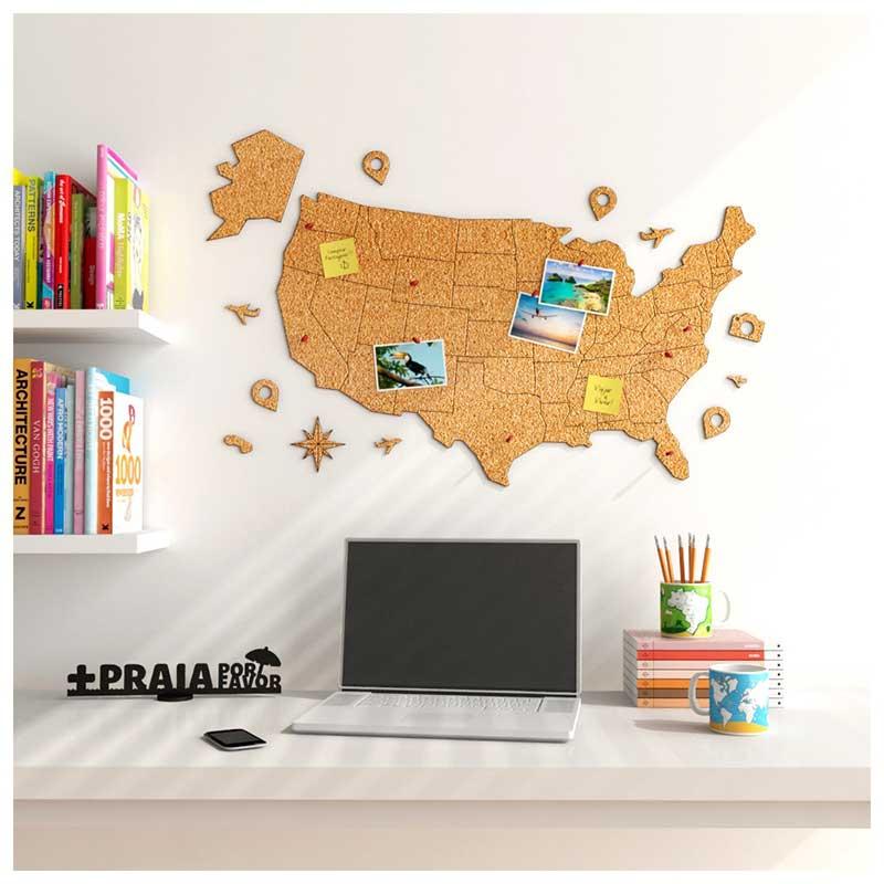 Mural de Cortiça Adesivo Mapa dos Estados Unidos + 10 Pins Especiais (80x50cm)