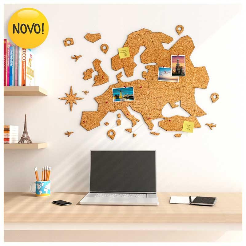 Mural de Cortiça Adesivo Mapa Europa + 10 Pins Especiais My Places (72x52cm)